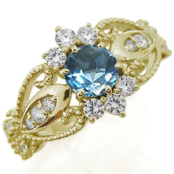 ブルートパーズリング アンティーク調 エンゲージリング ミル打ち 10金 婚約指輪