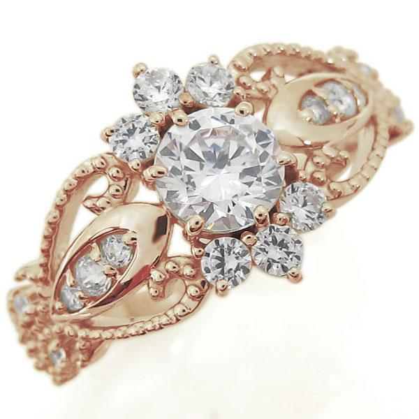 婚約指輪 大粒 ダイヤモンド アンティーク調リング エンゲージリング