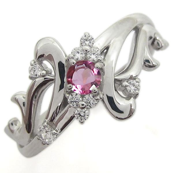 結婚記念日 プラチナリング ピンクトルマリン 指輪 メモリアルリング