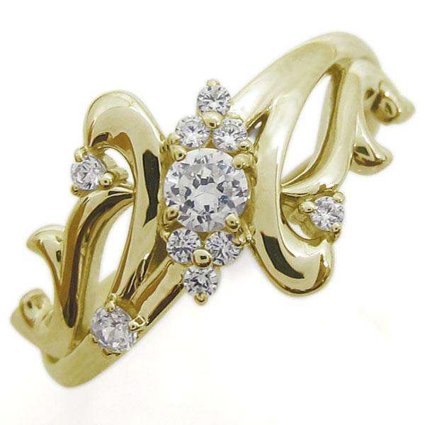 アラベスク ダイヤモンドリング 結婚10周年 唐草 指輪 K18