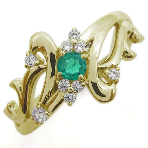 アラベスク エメラルドリング 結婚10周年 唐草 指輪 K18