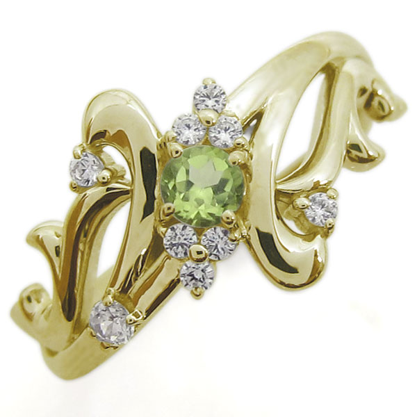 アラベスク ペリドットリング 結婚10周年 唐草 指輪 K18