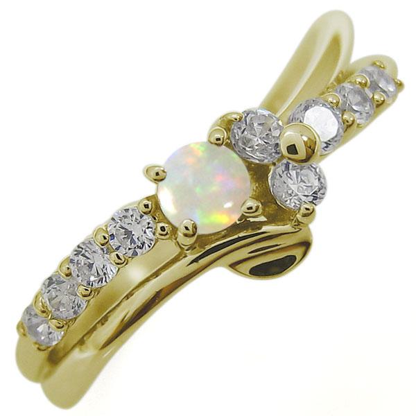 オパールリング 結婚10周年 Vラインリング 婚約指輪 10金