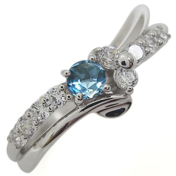 プラチナリング 結婚10周年 ブルートパーズ 婚約指輪 V字 メモリアルリング