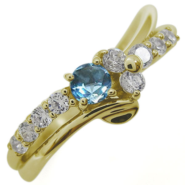 ブルートパーズリング 結婚10周年 Vラインリング 指輪 10金