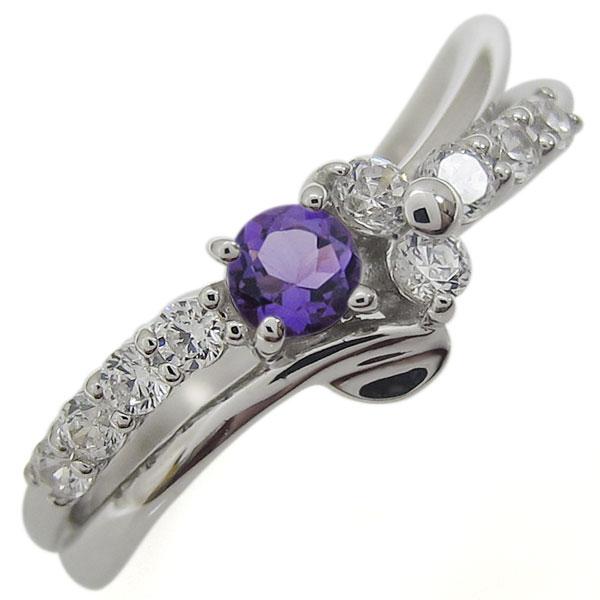 プラチナリング 結婚10周年 アメジスト 指輪 V字 メモリアルリング:PLEJOUR-プレジュール-