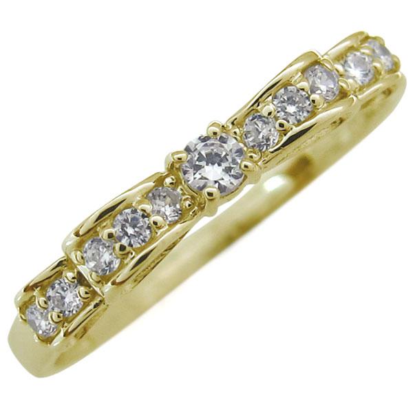 ダイヤモンド リング 指輪 リボン K18 ダイヤモンドリング ピンキーリング クリスマス ジュエリー プレゼント