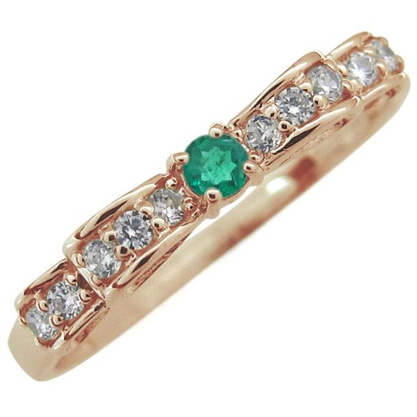 リボン リング エメラルド 指輪 ピンキーリング