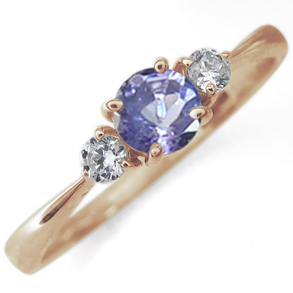 リング シンプル 指輪 12月誕生石 タンザナイト 10金