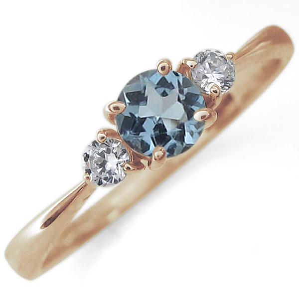 アクアマリンサンタマリア リング シンプル 10金 指輪 3月誕生石