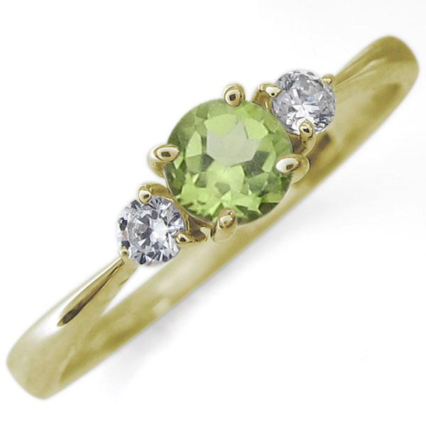 9/11 1:59迄K18 ペリドット エンゲージリング シンプル 婚約指輪