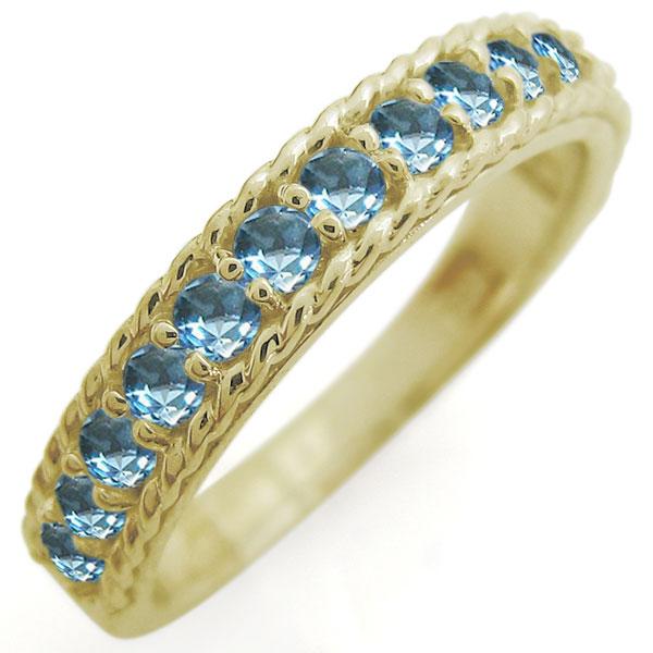 ハーフエタニティリング ブルートパーズ 重ねづけリング 18金 指輪