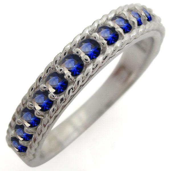 プラチナ サファイア ハーフエタニティリング 重ねづけ 指輪