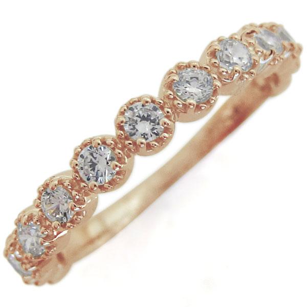 【10%OFF】4日20時~ ハーフエタニティリング ダイヤモンド 指輪 重ねづけリング K10