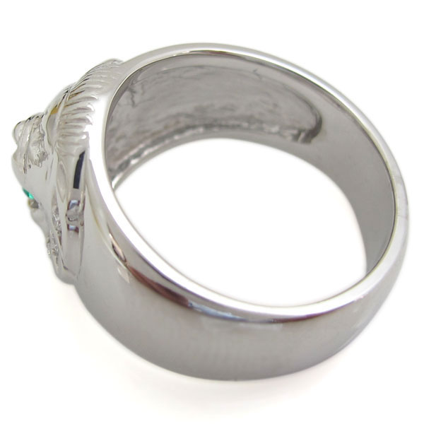 プラチナ エメラルドリング ライオンリング 指輪 百獣の王gfb6vY7yI