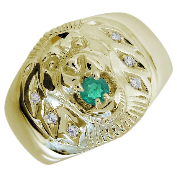送料無料 エメラルド リング 動物 指輪 ライオン メンズリング エメラルド ライオンリング メンズ Lion リング K10 指輪