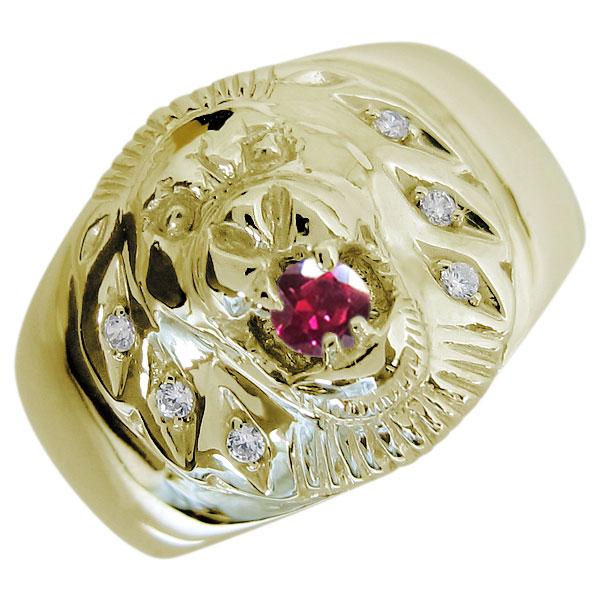 ライオンリング ルビー メンズ 18金 指輪 アニマルリング