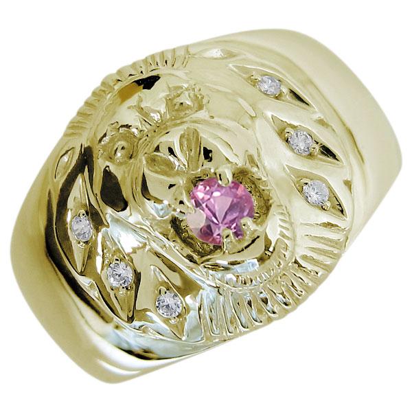 ライオンリング ピンクサファイア メンズ 18金 指輪 アニマルリング