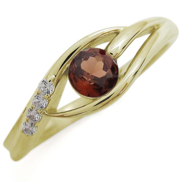 ガーネット 婚約指輪 シンプル レディースリング K18リング 母の日 プレゼント
