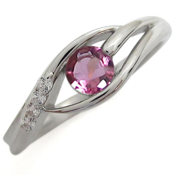 シンプル プラチナリング ピンクトルマリン 指輪 一粒リング