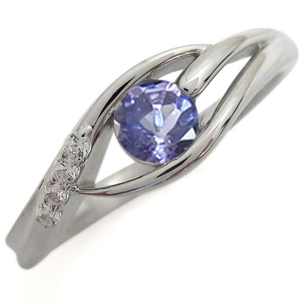 シンプル プラチナリング タンザナイト 指輪 一粒リング
