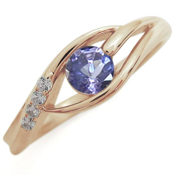 タンザナイトリング 10金 エンゲージリング シンプル エレガント 一粒 婚約指輪