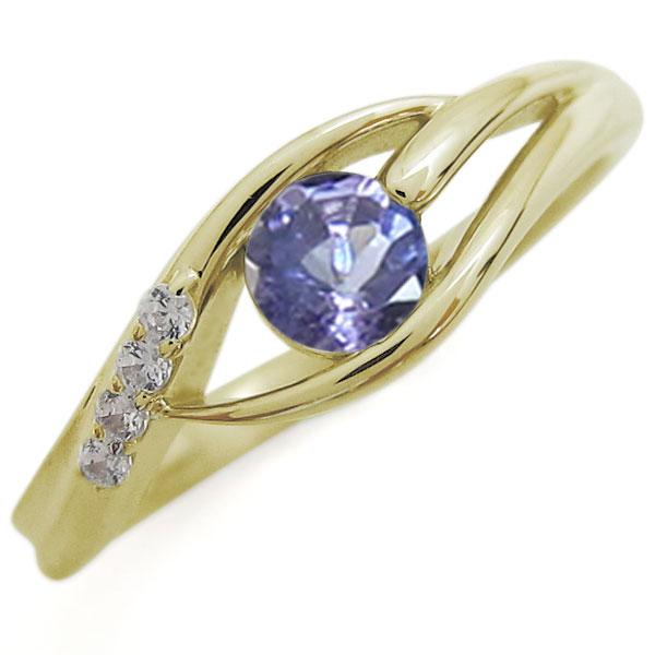 【10%OFFクーポン】5日23:59迄 タンザナイト 指輪 シンプル レディースリング K18リング 母の日 プレゼント