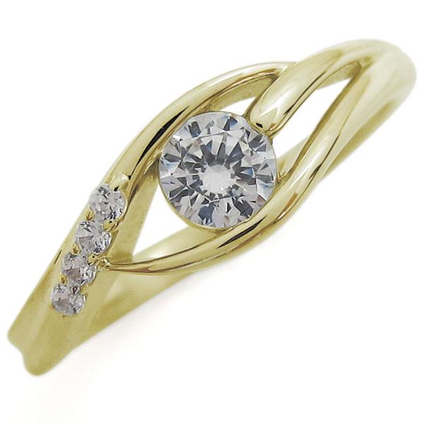 鑑定書 エンゲージ ダイヤモンドリング SI 婚約指輪 K18