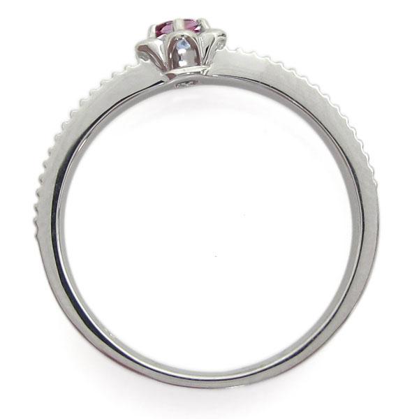 18金 フラワーリング ミル打ちリング ピンクトルマリン 指輪ZuikXTlwOP