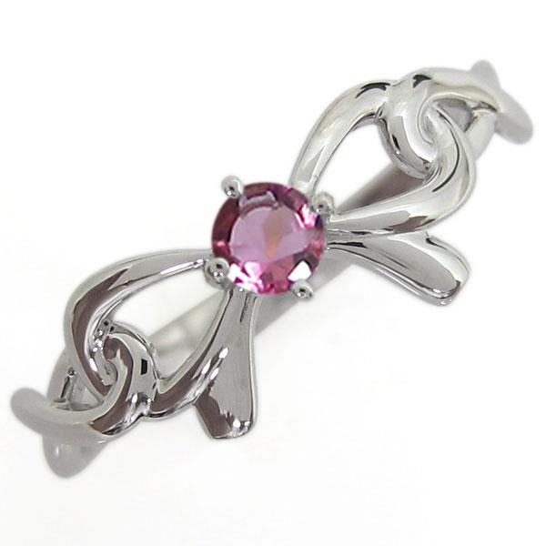 プラチナ インフィニティリング ピンクトルマリン りぼん 指輪