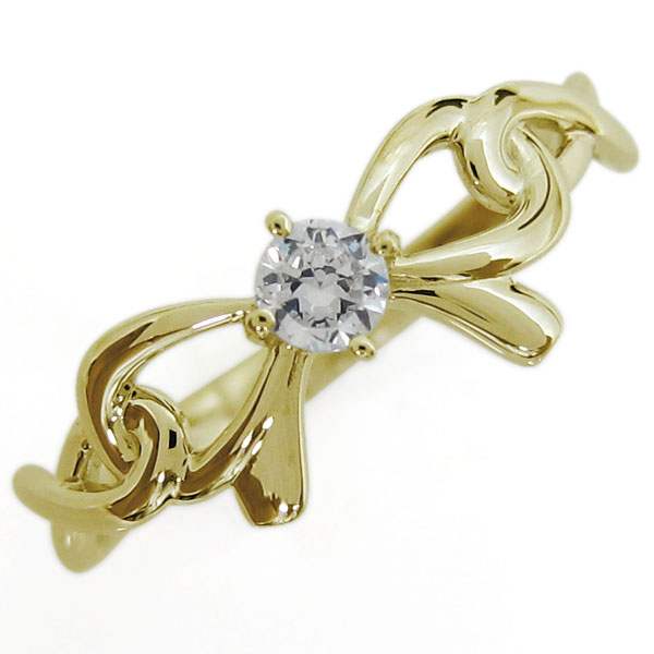 りぼんリング 蝶結び 指輪 大人可愛い ダイヤモンドリング