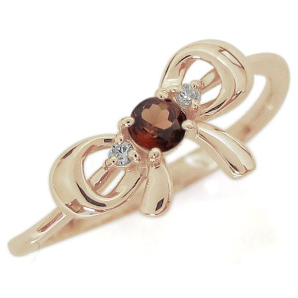 【10%OFF】4日20時~ リボンモチーフ ガーネット リング 可愛い りぼん 10金 指輪
