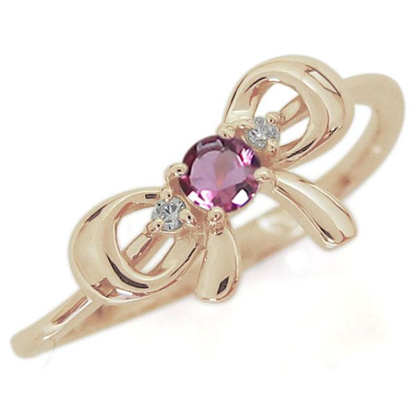 9/11 1:59迄リボンモチーフ ピンクトルマリン エンゲージリング 可愛い りぼん 10金 婚約指輪