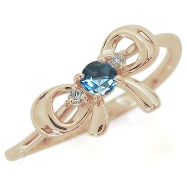 【10%OFF】4日20時~ リボンモチーフ ブルートパーズ リング 可愛い りぼん 10金 指輪