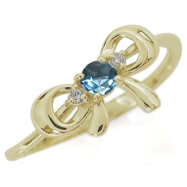 21日20時~ブルートパーズ リボンリング 蝶結び K18 大人可愛い 婚約指輪 りぼん