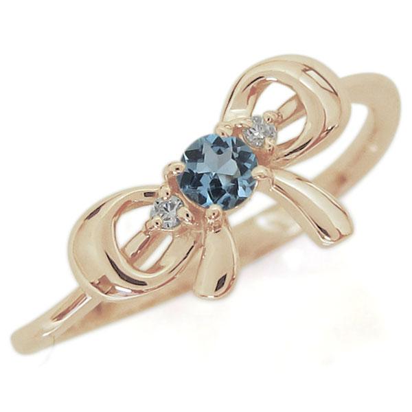【10%OFF】4日20時~ 誕生石 リボンモチーフ リング 可愛い りぼん 指輪 K10