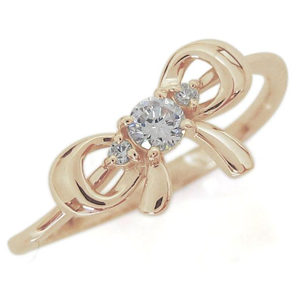 9/11 1:59迄リボンモチーフ ダイヤモンド リング 可愛い りぼん 10金 指輪