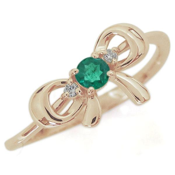リボンモチーフ エメラルド リング 可愛い りぼん 10金 指輪