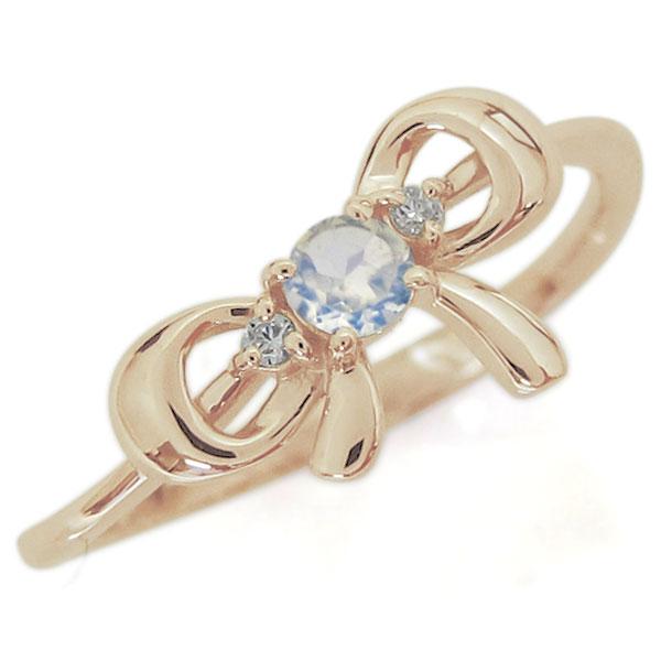 9/11 1:59迄リボンモチーフ ロイヤルブルームーンストーン エンゲージリング 可愛い りぼん 10金 婚約指輪