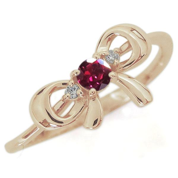 指輪 レディース おしゃれ 誕生石 りぼんリング K18 リング 母の日 プレゼント