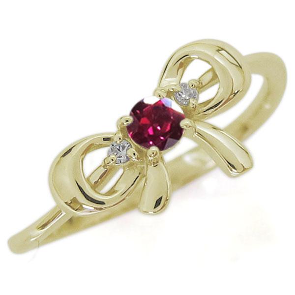 ルビー リボンリング 蝶結び K18 大人可愛い 婚約指輪 りぼん