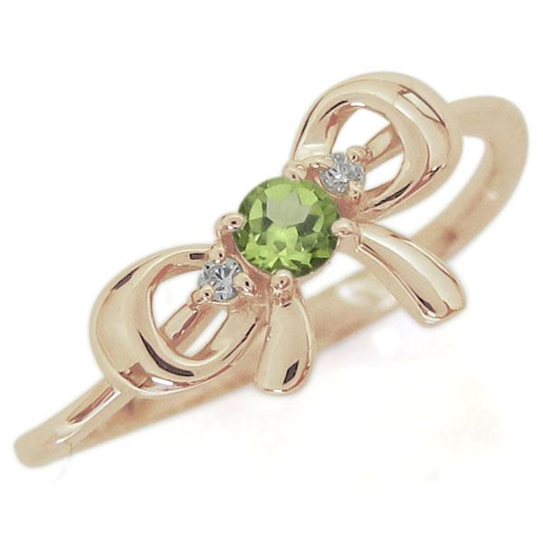 9/11 1:59迄リボンモチーフ ペリドット エンゲージリング 可愛い りぼん 10金 婚約指輪