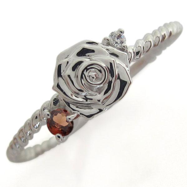 プラチナ ピンキーリング ロープリング ガーネット 指輪
