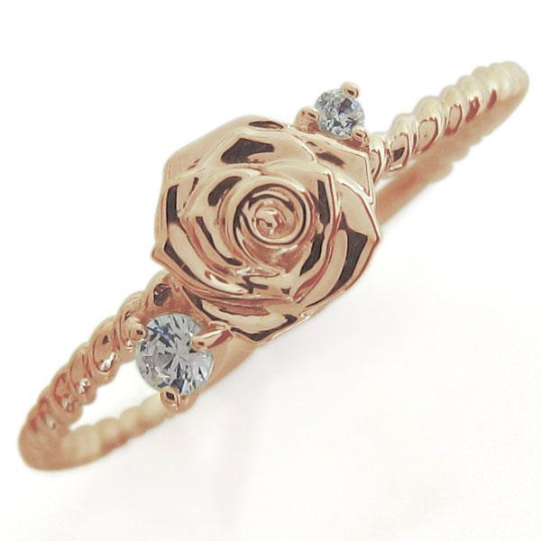 ファランジリング ピンキーリング バラ 指輪 ダイヤモンドリング K18