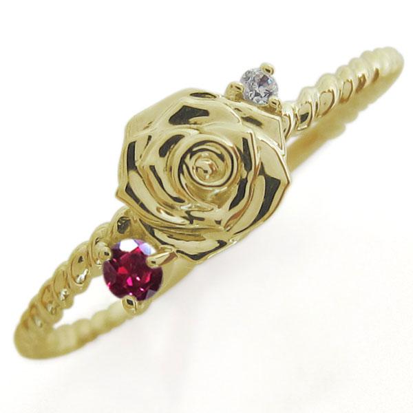 フラワーリング ルビー ピンキーリング 薔薇 指輪 10金
