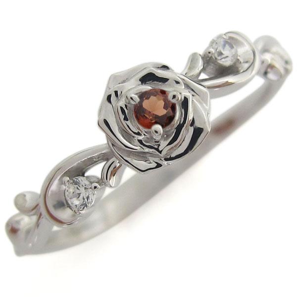 プラチナ ガーネット 薔薇モチーフ リング 花 指輪