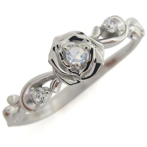 3/20限定AM10時~ プラチナ ロイヤルブルームーンストーン 薔薇モチーフ リング 花 指輪