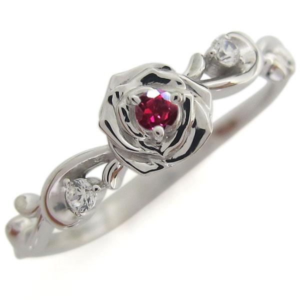 3/20限定AM10時~ プラチナ ルビー 薔薇モチーフ リング 花 指輪