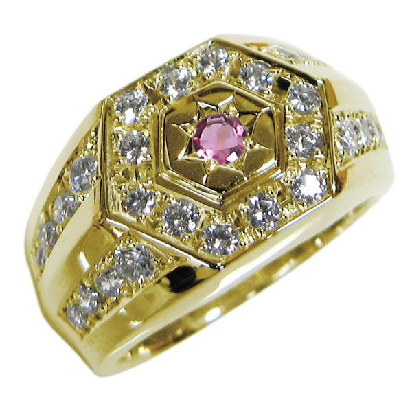 送料無料 ピンクトルマリン 18金 印台 メンズ リング 後光彫り 指輪 10月誕生石ピンクトルマリン 18金 印台 指輪 メンズ リング