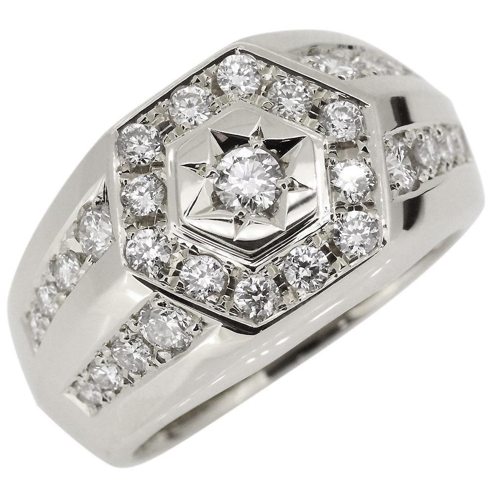 送料無料 印台 指輪 1ct ダイヤモンド プラチナ メンズ リング 4月誕生石 印台リング プラチナ メンズ ダイヤリング ダイヤモンドリング 指輪 後光彫り 人気 プレゼント ギフト 男性 おすすめ